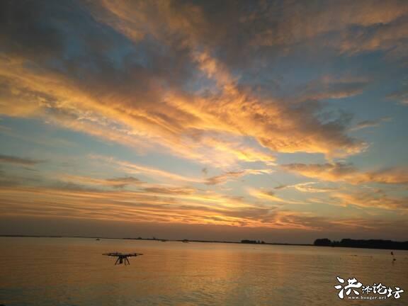洪泽湖的晚霞